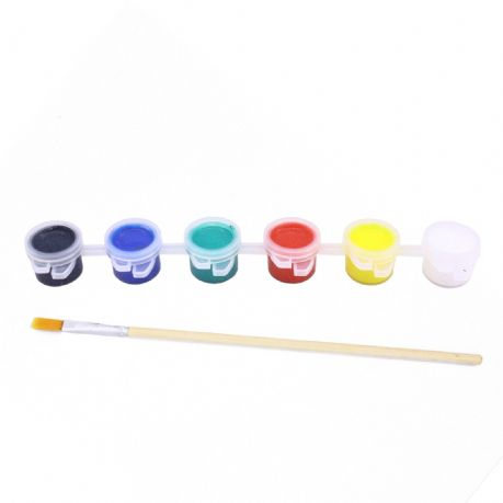 6 x Mini Acrylic Paint Pots with Brushes - Primary Colours